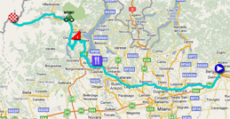 The map with the race route of the dix-nineth stage of the Giro d'Italia 2011 on Google Maps