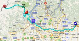 La carte du parcours de la dix-neuvième étape du Giro d'Italia 2011 sur Google Maps