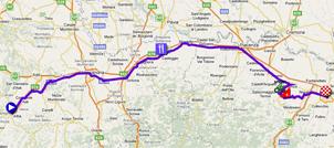 La carte du parcours de la deuxième étape du Giro d'Italia 2011 sur Google Maps