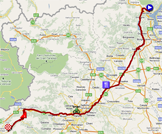 The map with the race route of the twenteenth stage of the Giro d'Italia 2011 on Google Maps