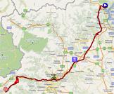 La carte du parcours de la vingtième étape du Giro d'Italia 2011 sur Google Maps