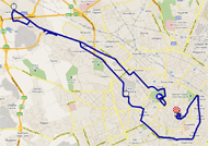 The map with the race route of the 21st stage of the Giro d'Italia 2011 on Google Maps