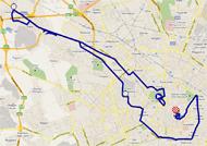 La carte du parcours de la 21ème étape du Giro d'Italia 2011 sur Google Maps