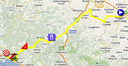 The map with the race route of the third stage of the Giro d'Italia 2011 on Google Maps