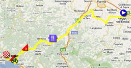 La carte du parcours de la troisième étape du Giro d'Italia 2011 sur Google Maps