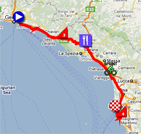 The map with the race route of the fourth stage of the Giro d'Italia 2011 on Google Maps