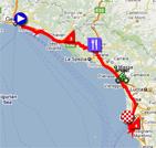 La carte du parcours de la quatrième étape du Giro d'Italia 2011 sur Google Maps