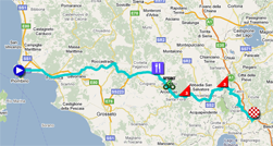 The map with the race route of the fifth stage of the Giro d'Italia 2011 on Google Maps