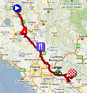 The map with the race route of the sixth stage of the Giro d'Italia 2011 on Google Maps
