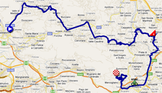 The map with the race route of the seventh stage of the Giro d'Italia 2011 on Google Maps