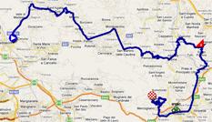La carte du parcours de la septième étape du Giro d'Italia 2011 sur Google Maps