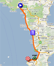 The map with the race route of the eighth stage of the Giro d'Italia 2011 on Google Maps