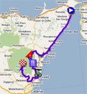 The map with the race route of the nineth stage of the Giro d'Italia 2011 on Google Maps