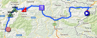 The map with the race route of the eleventh stage of the Giro d'Italia 2013 on Google Maps