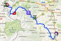 La carte du parcours de la quatorzième étape du Giro d'Italia 2013 sur Google Maps