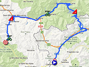 The map with the race route of the fifteenth stage of the Giro d'Italia 2013 on Google Maps