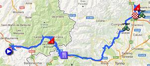 La carte du parcours de la seizième étape du Giro d'Italia 2013 sur Google Maps