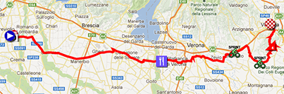 The map with the race route of the seventeenth stage of the Giro d'Italia 2013 on Google Maps