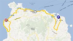 La carte du parcours de la deuxième étape du Giro d'Italia 2013 sur Google Maps