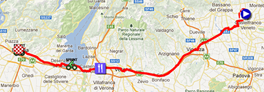 The map with the race route of the twentyfirst stage of the Giro d'Italia 2013 on Google Maps