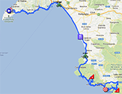 The map with the race route of the third stage of the Giro d'Italia 2013 on Google Maps