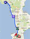 La carte du parcours de la quatrième étape du Giro d'Italia 2013 sur Google Maps