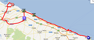 The map with the race route of the sixth stage of the Giro d'Italia 2013 on Google Maps