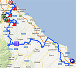 The map with the race route of the seventh stage of the Giro d'Italia 2013 on Google Maps