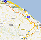 The map with the race route of the eighth stage of the Giro d'Italia 2013 on Google Maps