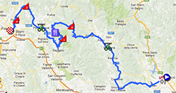 The map with the race route of the nineth stage of the Giro d'Italia 2013 on Google Maps