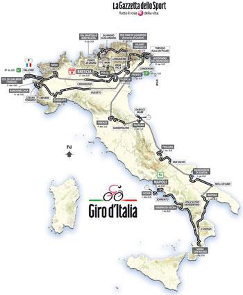 La carte globale du Giro d'Italia 2013