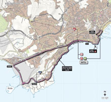 The map with the race route of the 1st stage of the Giro d'Italia 2013