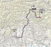 The map with the race route of the 10th stage of the Giro d'Italia 2013
