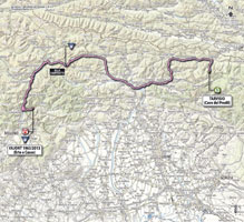 The map with the race route of the 11th stage of the Giro d'Italia 2013