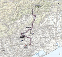 The map with the race route of the 12th stage of the Giro d'Italia 2013