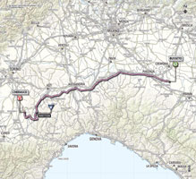 The map with the race route of the 13th stage of the Giro d'Italia 2013