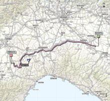 La carte du parcours de la 13ème étape du Giro d'Italia 2013