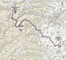 The map with the race route of the 14th stage of the Giro d'Italia 2013