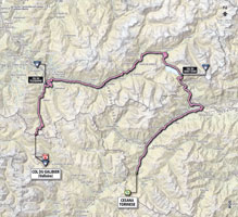 The map with the race route of the 15th stage of the Giro d'Italia 2013