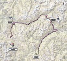 La carte du parcours de la 15ème étape du Giro d'Italia 2013