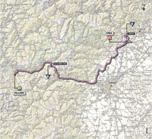 The map with the race route of the 16th stage of the Giro d'Italia 2013