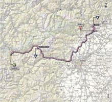 La carte du parcours de la 16ème étape du Giro d'Italia 2013