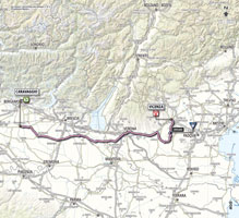 The map with the race route of the 17th stage of the Giro d'Italia 2013