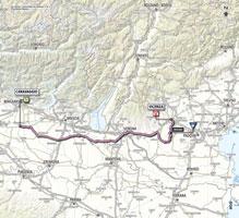La carte du parcours de la 17ème étape du Giro d'Italia 2013