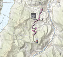 The map with the race route of the 18th stage of the Giro d'Italia 2013