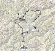 The map with the race route of the 19th stage of the Giro d'Italia 2013