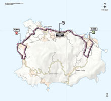 The map with the race route of the 2nd stage of the Giro d'Italia 2013