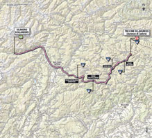 The map with the race route of the 20th stage of the Giro d'Italia 2013