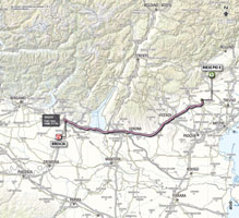 The map with the race route of the 21st stage of the Giro d'Italia 2013
