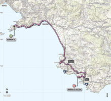 The map with the race route of the 3rd stage of the Giro d'Italia 2013